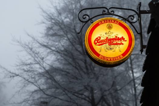 Advertisement beer black and white budvar Free Photo