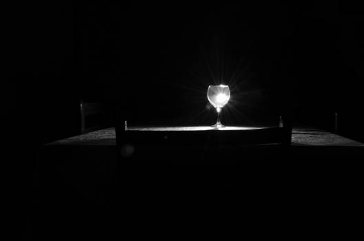 Black and white dark room dinner table flashlight #91224