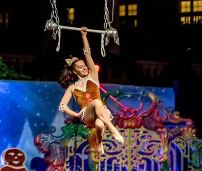 Acrobats attractive caucasian christmas show #91869
