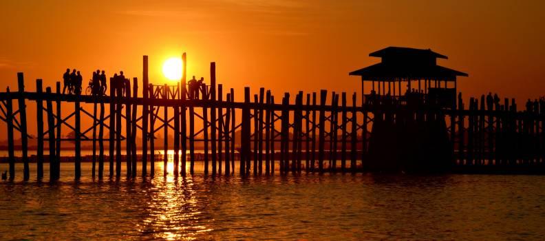 Backlit beach bridge dawn #92419