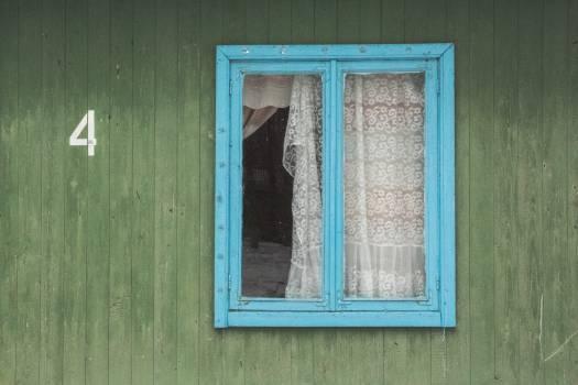Blue curtain four green #94003