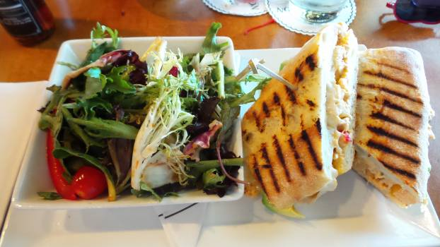 Food grilled panini lunch salad #95927