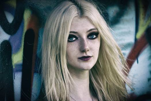 Blond eyes face freckles #98573