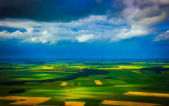 Aerial view clouds country countryside Free Photo
