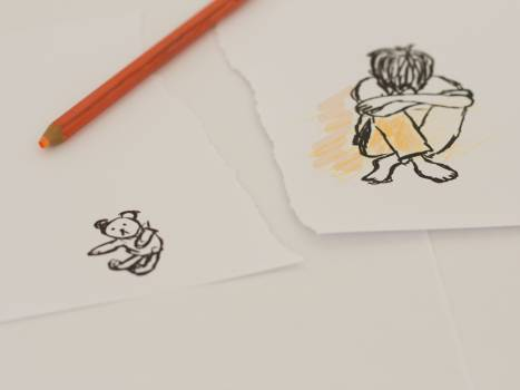 Alone child drawing lonely #99255